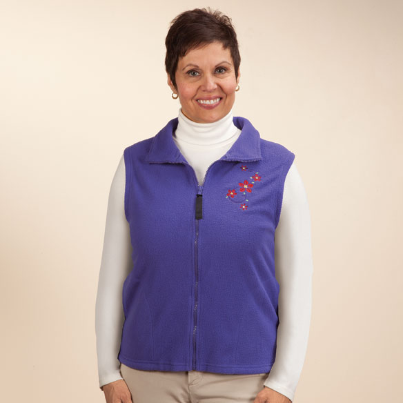 Embroidered Polar Fleece Vest - View 2