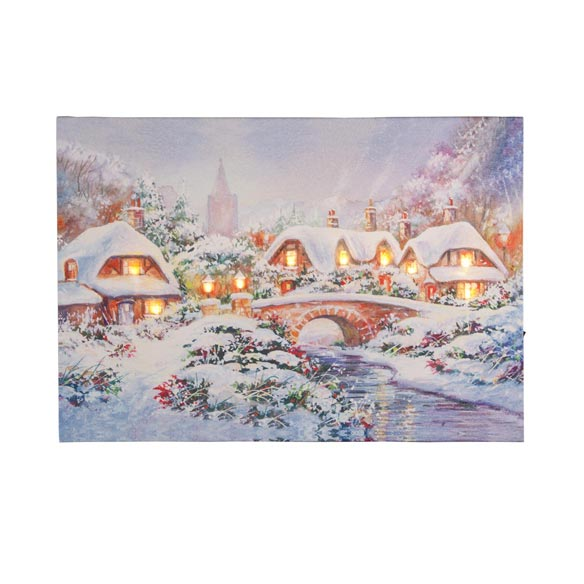 Glowing Village LED Lighted Canvas - View 2