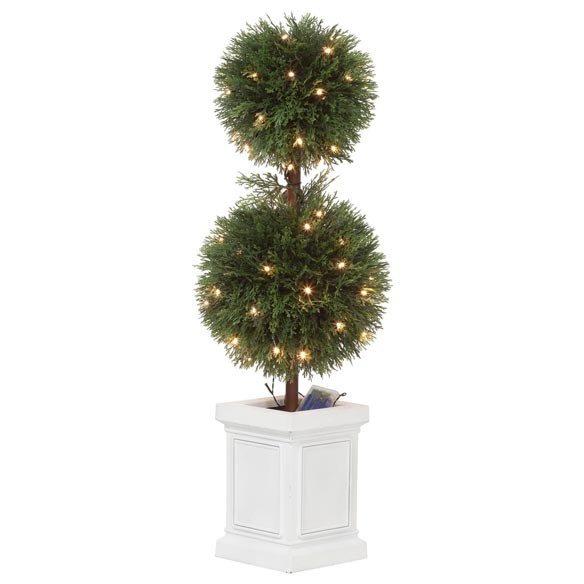 3' Cedar Balled Topiary with Lights - View 2