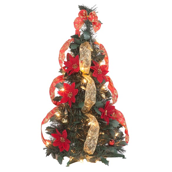 2-Ft. Pull-Up Fully Decorated Pre-Lit Poinsettia Tree - View 2