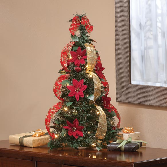 2-Ft. Pull-Up Fully Decorated Pre-Lit Poinsettia Tree - View 3