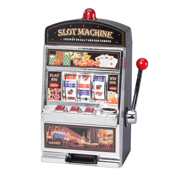 Large Slot Machine with Lights and Bank - View 2