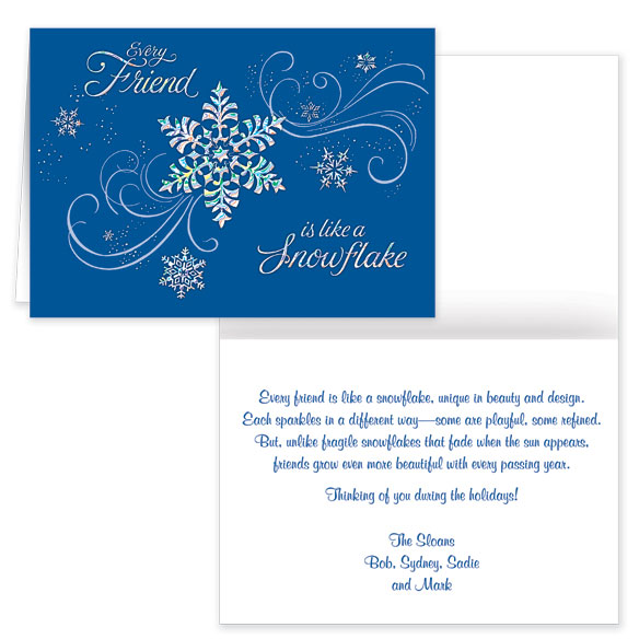Personalized Snowflake Christmas Cards - Set of 20 - View 1