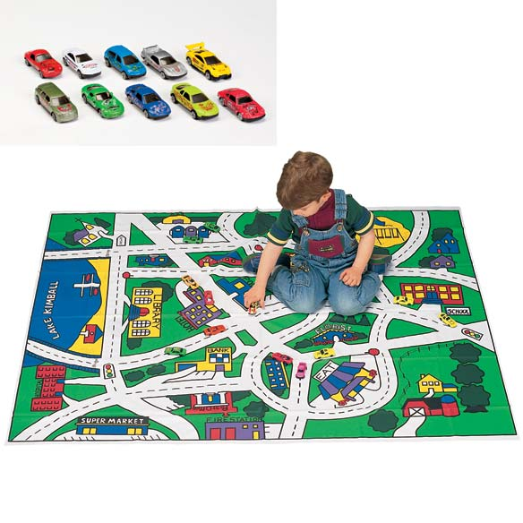 Toy Car Floor Mat And Car Set- Toy Car Mat