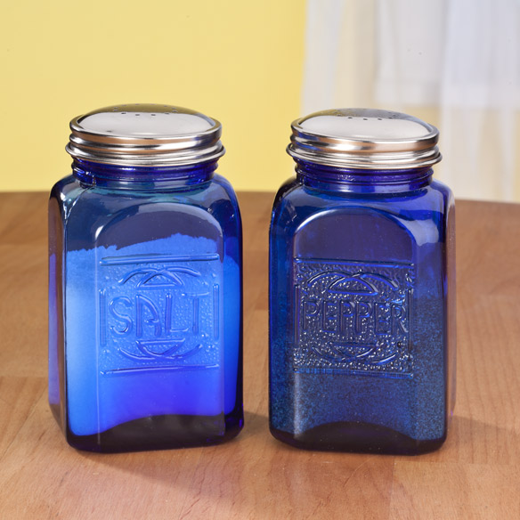 Cobalt Blue Depression Style Glass Salt & Pepper Shakers
