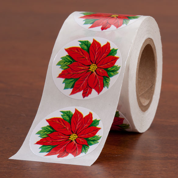 Poinsettia Envelope Seals - Roll of 200