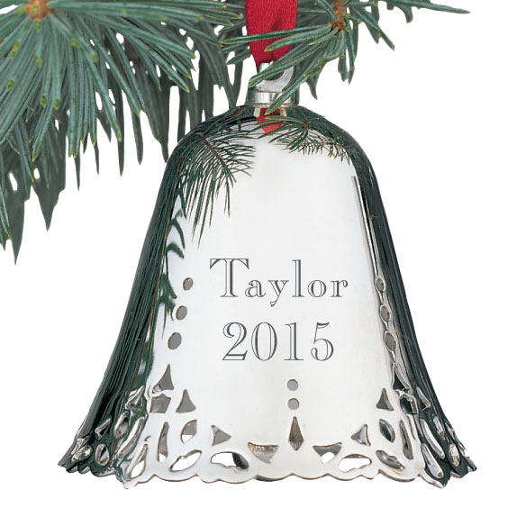 Personalized silver bell ornament engraved christmas