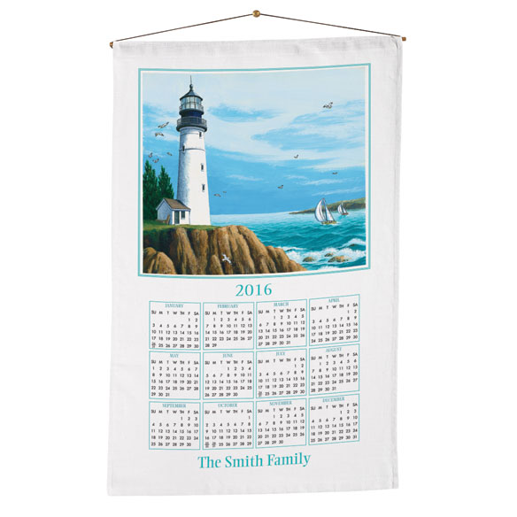 Personalized Lighthouse Calendar Towel