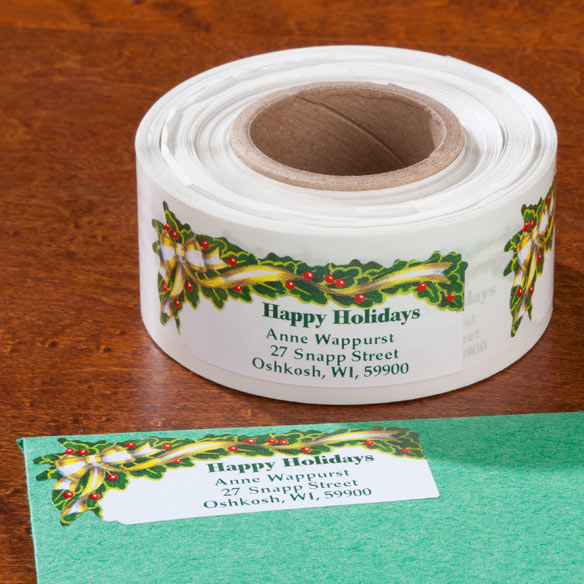Holly And Ribbon Return Address Labels - Set of 200 - View 1
