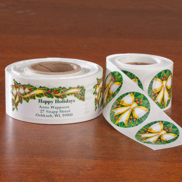 Holly And Ribbon Labels And Seals - Sets Of 250