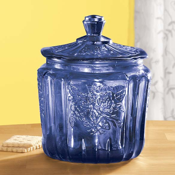 Cobalt Blue Depression Style Glass Biscuit Jar - View 1