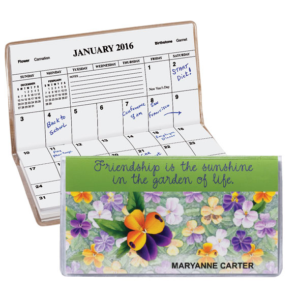 Personalized Pansy 2 Year Pocket Planner - View 1