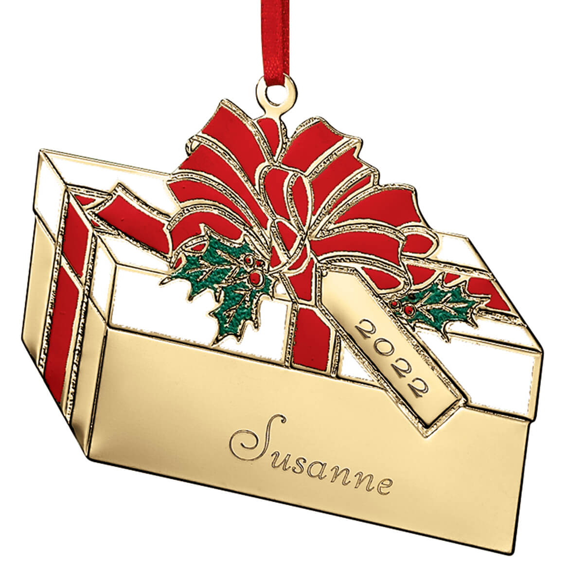 Custom Brass Christmas Ornaments - Present Ornaments - Miles Kimball