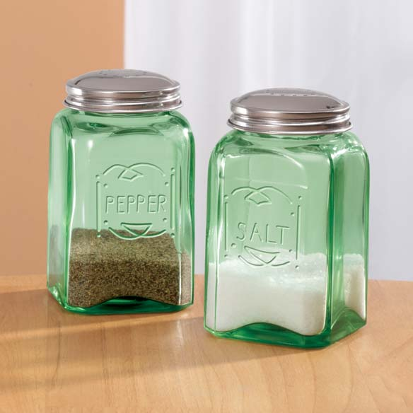 Green Depression Style Glass Salt & Pepper Shakers