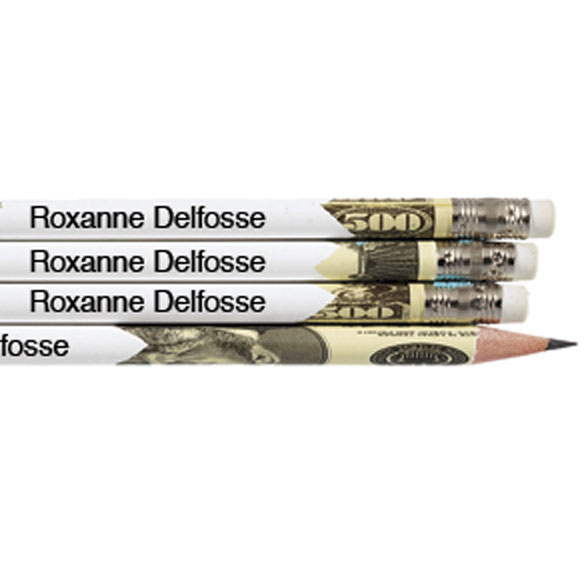Personalized Round Money Pencils - Set of 12