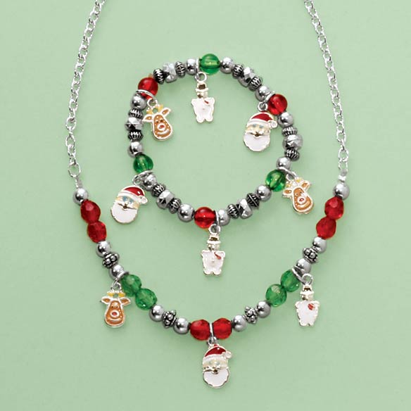 Child's Christmas Charm Bracelet And Necklace