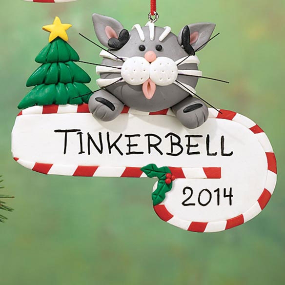 Personalized Cat With Candy Cane Ornament