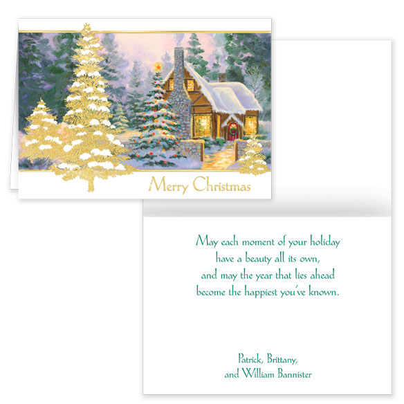 Glowing Cottage Personalized Christmas Cards - Set Of 20 - View 1