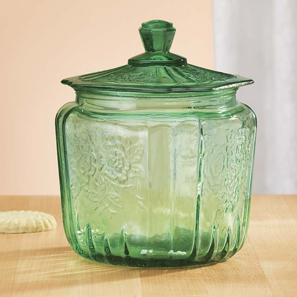 Green Depression Style Glass Biscuit Jar