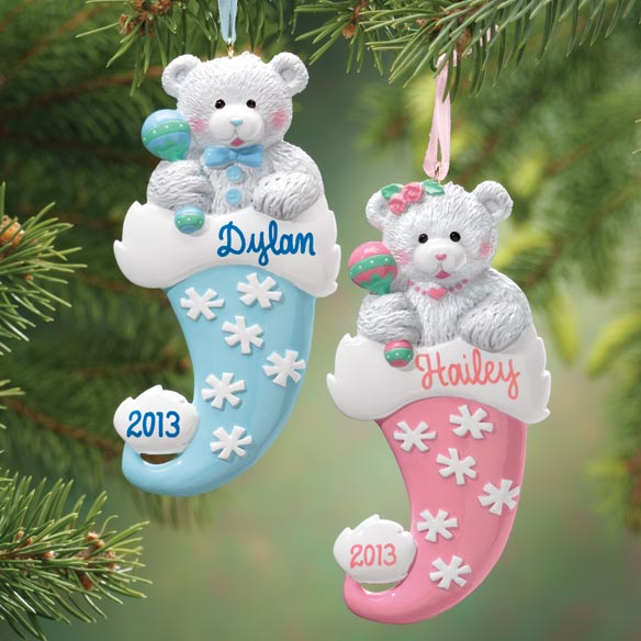 Personalized Bear In Santa Hat Ornament