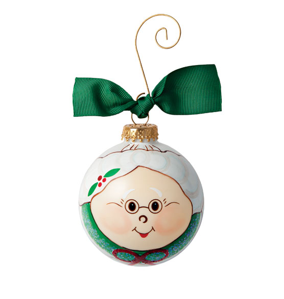 Hand Painted Mrs. Claus Glass Ornament