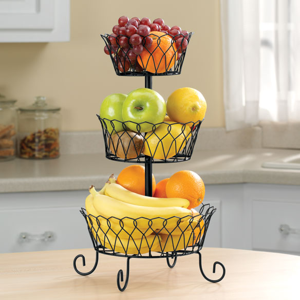 Kitchen Fruit Basket Boasts A Trio Of Graduated Baskets, Offering Open Air  Storage To Naturally Ripen Fresh Fruits And Veggies. Stack All Three Tiers  For A ...