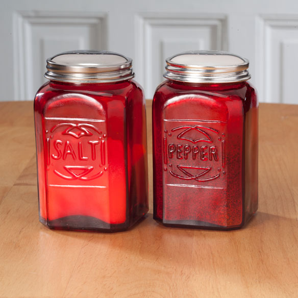 Red Depression Glass Salt & Pepper Shakers - View 1