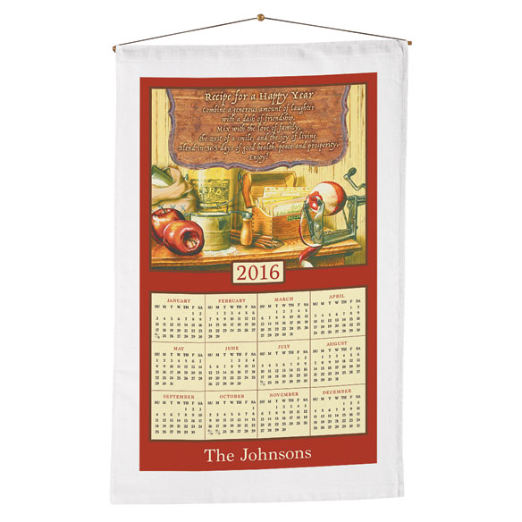 Personalized Recipe For Happiness Calendar Towel