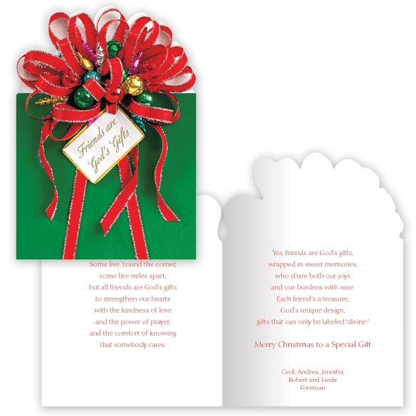 Friends are God's Gifts Christmas Card Set of 20