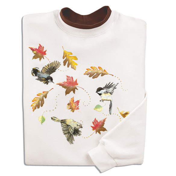 Swirling Leaves Birds Sweatshirt - View 1