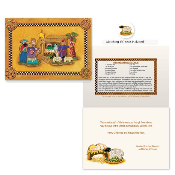 Gingerbread Nativity Christmas Card Set of 20 - View 1