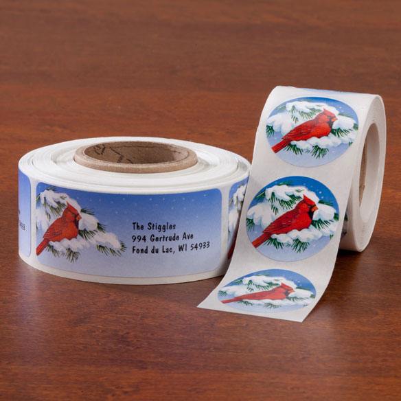 Snowy Cardinal Labels & Seals - Rolls Of 250