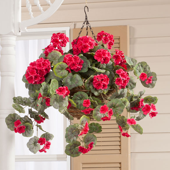 Artificial Geranium Hanging Bush - View 1