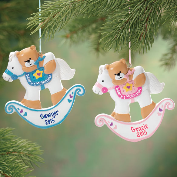 Bigbolo Personalized Baby's First Christmas Rocking Horse Ornament-Plain Pink