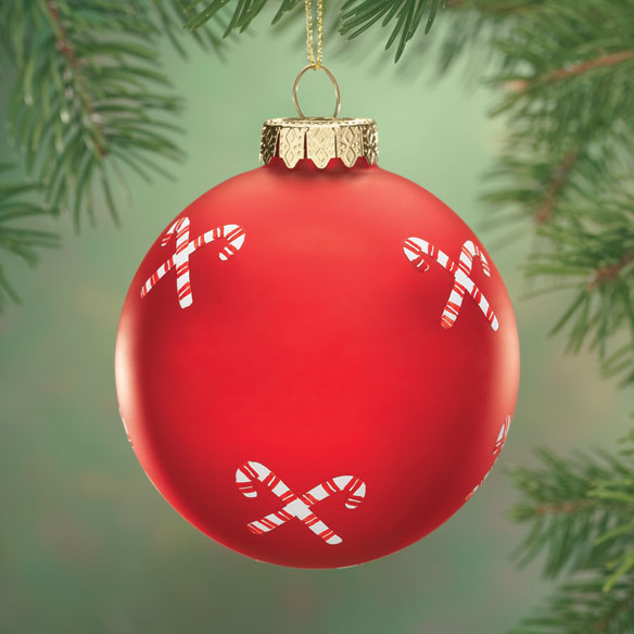 Candy Canes Glass Ball Ornament