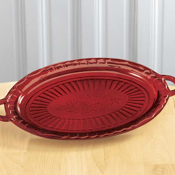 Red Depression Style Glass Serving Platter - View 1