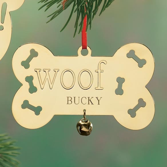 Personalized Woof Brass Ornament - View 1
