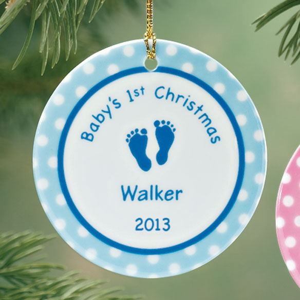 Personalized Baby Boy's First Christmas Porcelain Ornament