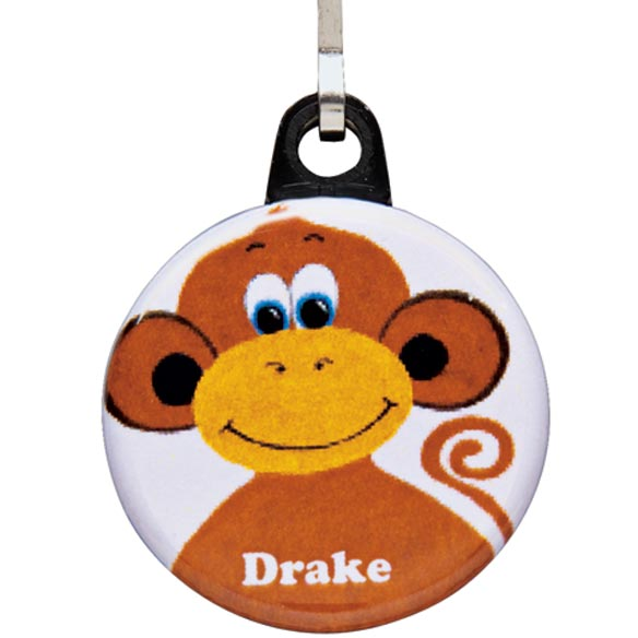 Personalized Monkey Zipper Pull