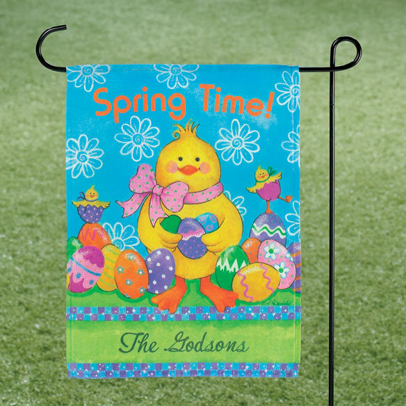 Personalized Easter Chick Garden Flag