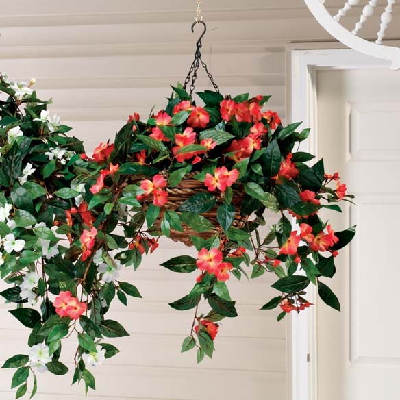 Artificial Impatiens Hanging Bush