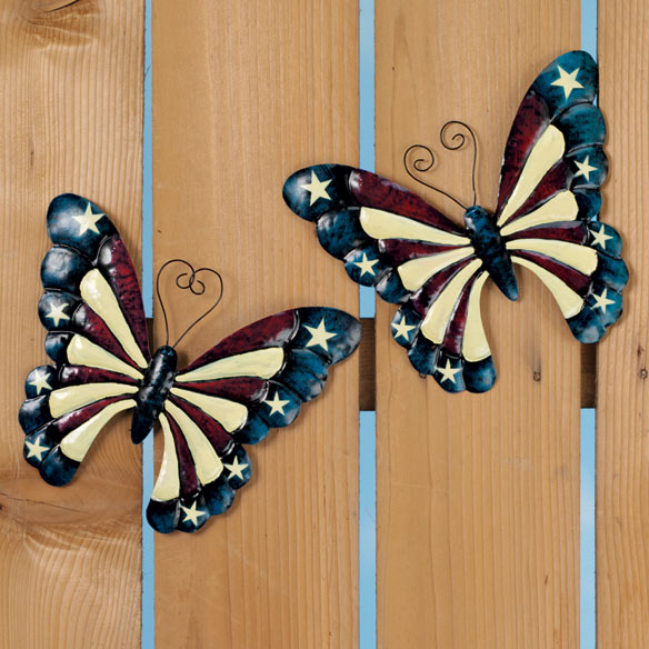 Patriotic Metal Butterfly Décor Set of 2