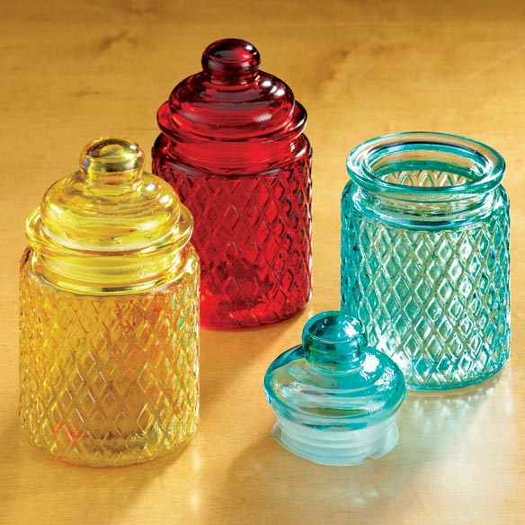 Small Colored Glass Jars - Set Of 3