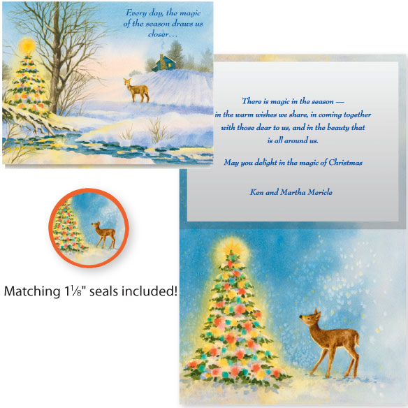 Deer and Decorated Tree Card Set of 20 - View 1