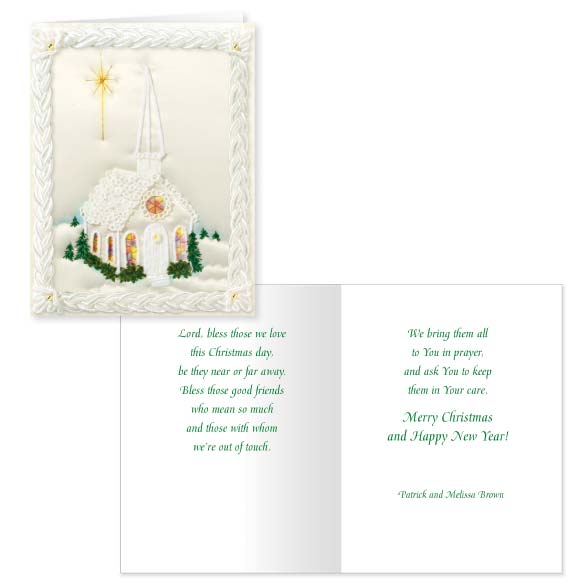Satin Chapel Christmas Card Set of 20 - View 1