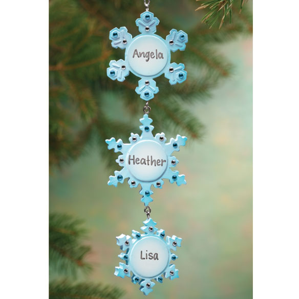Personalized 3 Snowflakes Ornament