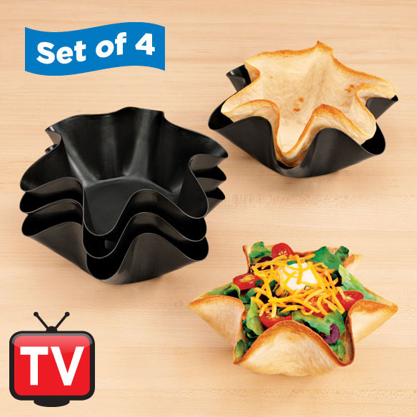Nonstick Taco Fluted Dishes - Set Of 4