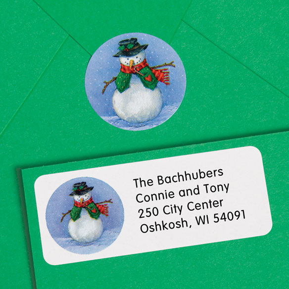 Snowman Return Address Labels And Seals - Set Of 250