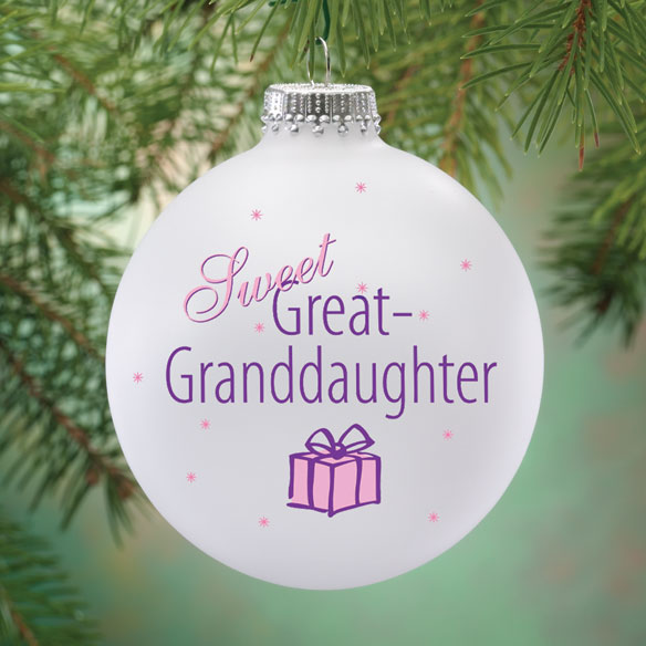 Personalized Sweet Great Granddaughter Ball Ornament - View 1
