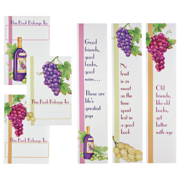 Wine Bookmarks & Bookplates Set